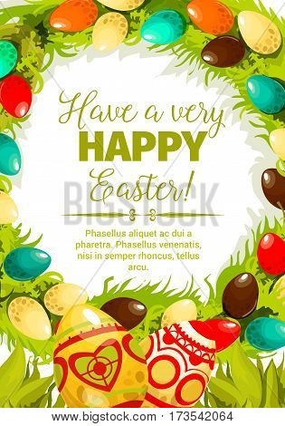 Easter egg festive poster. Decorated Easter eggs with folk ornaments, green grass and leaves twined into floral wreath with wishes of Happy Easter in center. Spring holidays, Egg hunt themes design