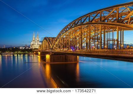 Cologne city skyline at night, Cologne, Germany