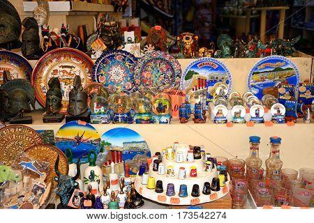 Traditional Cretan souvenirs for sale at a city centre shop along Odos 1821 Heraklion Crete Greece Europe.