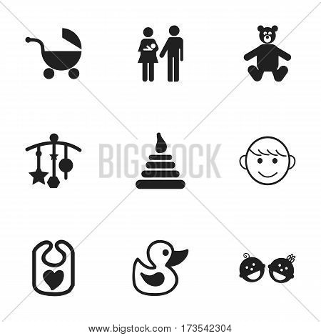 Set Of 9 Editable Infant Icons. Includes Symbols Such As Lineage, Bath Toys, Teddy And More. Can Be Used For Web, Mobile, UI And Infographic Design.