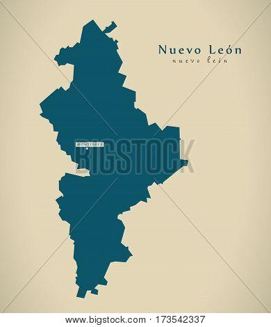 Modern Map - Nuevo Leon Mexico Mx Illustration