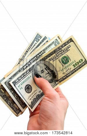 Money in the woman's hand (american dollars) isolated on white background with copy space. Vertical.