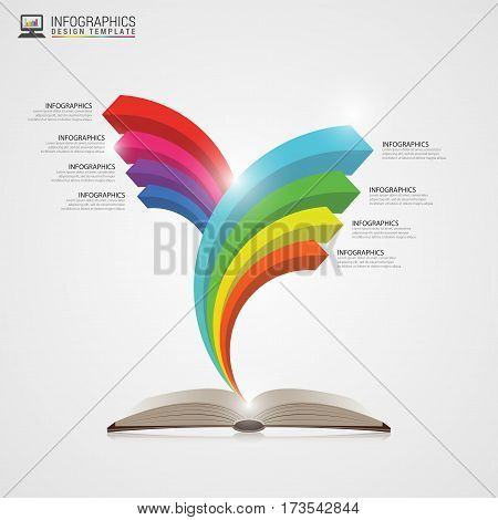Open book with arrows. Infographics concept. Modern design template. Vector illustration.