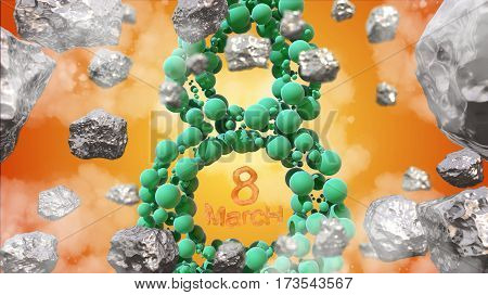 8 March symbol. Figure of eight made of green spheres flying in the space with asteroids. Can be used as a decorative greeting grungy or postcard for international Woman's Day. 3d illustration.