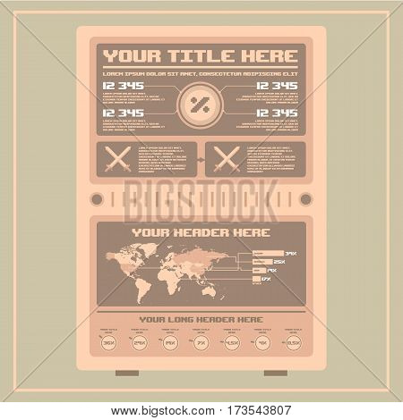 Retro infographics collection, Information Graphics, Old style, Pixel Art, World Map