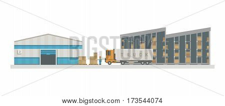 Large warehouse preparing goods for dispatch industry and cargo transport shipping package buildings. Storage factory industry flat vector illustration.