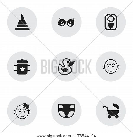 Set Of 9 Editable Kid Icons. Includes Symbols Such As Tower, Stroller, Nappy And More. Can Be Used For Web, Mobile, UI And Infographic Design.