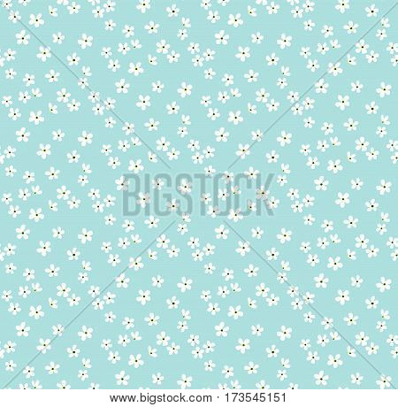 Floral pattern. Pretty flowers on light blue backgroung. Printing with Small-scale white flowers. Ditsy print. Seamless vector texture. Spring daisy bouquet.