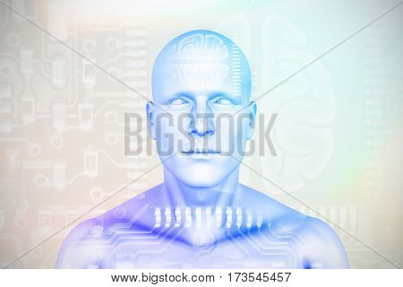 Digital image of human figure against human brain in circuit board 3D