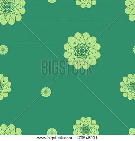 Green floral pattern. Seamless background with flower motif. Vector