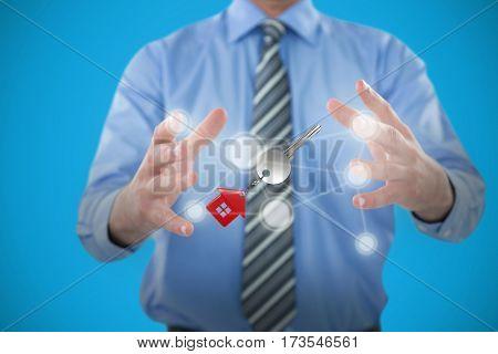 Businessman gesturing against white background against blue 3D