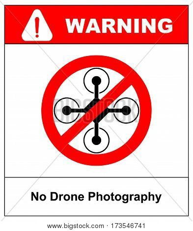 No fly drones sign. No fly zone, Drone sign isolated on white background, Vector illustration. Prohibition symbol in red circle isolated on white.