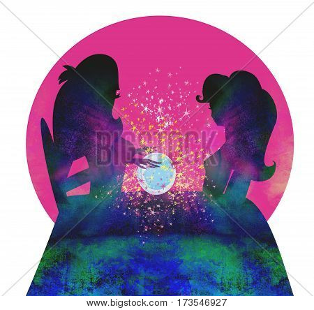 fortune teller woman reading future on magical crystal ball , raster