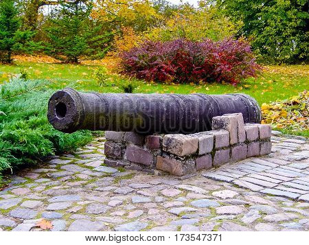 the fragment of a barrel of the gun lies in the park, the autumn period, on a background bushes, trees and a grass, violence of paints, red, green and yellow tone of vegetation