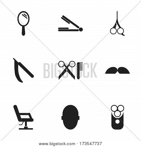 Set Of 9 Editable Hairstylist Icons. Includes Symbols Such As Cut Tool, Reflector, Blade And More. Can Be Used For Web, Mobile, UI And Infographic Design.