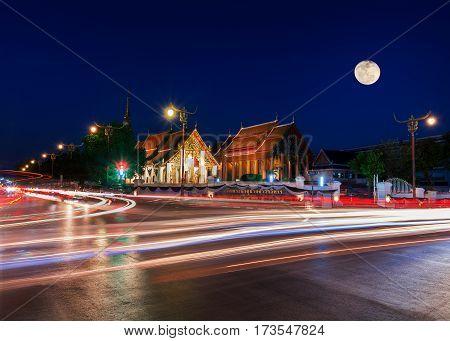 Wat Phrathat Chang Kham Worawihan In Night Time.