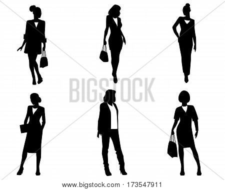 Vector illustration of a six businesswoman silhouettes
