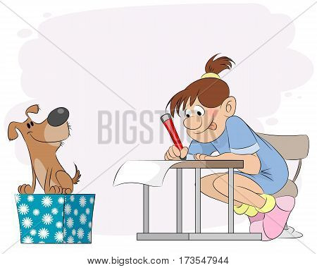 Vector illustration of a girl doing lessons
