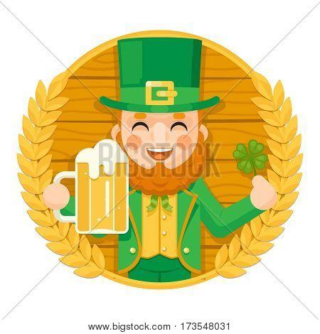 Leprechaun Saint Patrick Day Celebration Clover Success and Prosperity Symbol Mug Beer with Foam Icon on Barrel Background Greeting Card Flat Design Vector Illustration