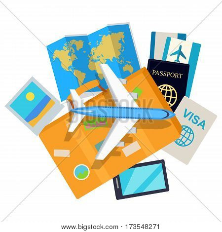 Journey web banner. Aircraft, suitcase with luggage, world map, air tickets, passport, visa, phone, mobile photo flat vector illustrations. For travel agency, airline company landing page design