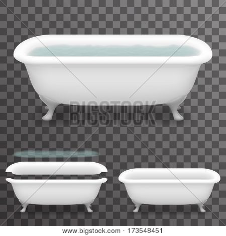 Retro Bath Water Realistic 3d Parallax Bathtub Transparent Template Background Mock Up Design Vector Illustration