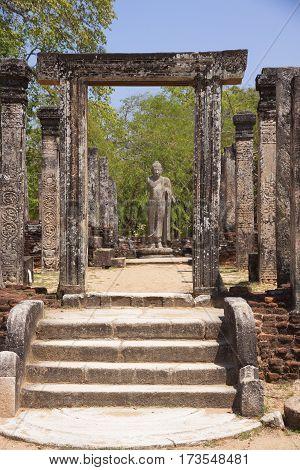 Nissanka Latha Mandapaya Polonnaruwa or Pulattipura ancient city of the Kingdom of Polonnaruwa in Sri Lanka close view