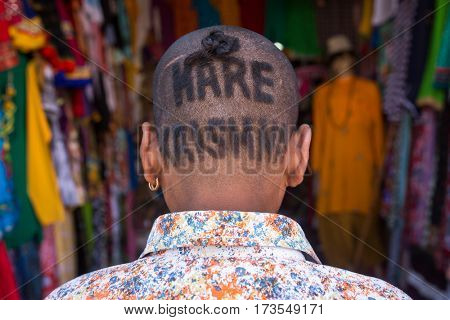 Vrindavan, India - March 22, 2016: Portrati of an unidentified indian man with a