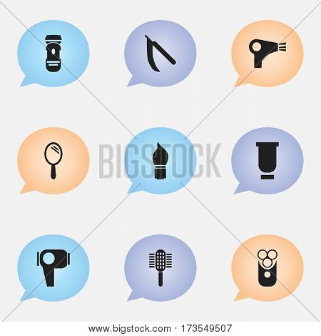 Set Of 9 Editable Coiffeur Icons. Includes Symbols Such As Cutter Apparatus, Charger, Scrub And More. Can Be Used For Web, Mobile, UI And Infographic Design.