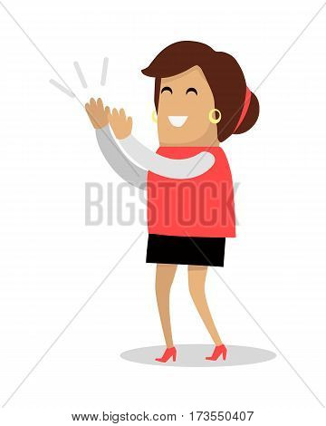 Smiling woman applauds. Cheerful cartoon woman character claps hands flat vector illustration isolated on white background. Good job and success concept. Woman enjoying concert. Human positive emotion