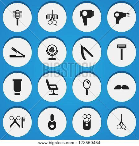 Set Of 16 Editable Barbershop Icons. Includes Symbols Such As Charger, Cutter Apparatus, Shaver And More. Can Be Used For Web, Mobile, UI And Infographic Design.