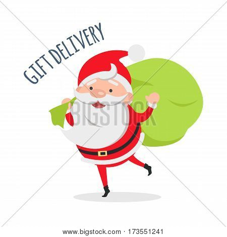 Gift delivery. Santa Claus delivers gifts to children. Fast holiday delivery. Merry Christmas and Happy New Year concept. Winter holiday illustration. Greeting card. Vector in flat style design