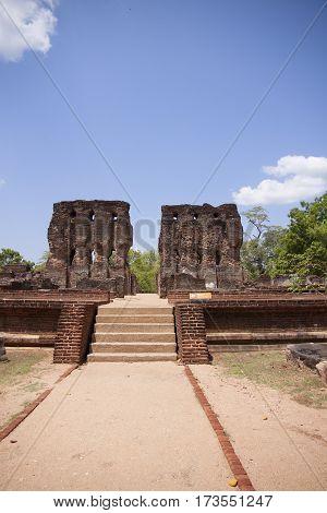 Royal Palace Polonnaruwa or Pulattipura ancient city of the Kingdom of Polonnaruwa in Sri Lanka vertical