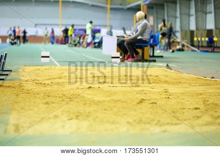 Sandpit for long jump on indoor track and filed competition