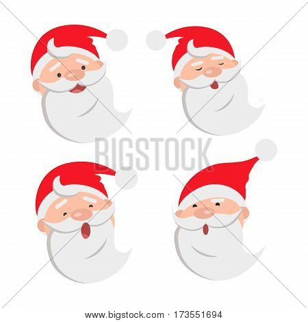 Collection of four Santa Claus face expressions. Different emotions on male faces. White beard. Red hat with white round bow. Types of feelings on countenance. Cartoon style. Flat design. Vector