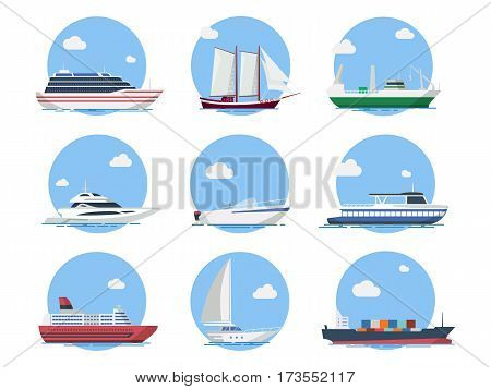 Ships and boats in the sea vector set in flat style. Icons yachts, cruise liner, sailing boat, cargo ship and motorboat. Ocean transport vessels.
