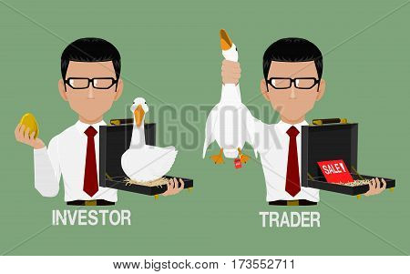 Investor hold an golden egg in his hand and Trader is selling  his goose