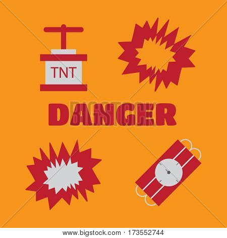 Bomb flat icons. Bombs and explosives pictograms.Bombs and explosives vector