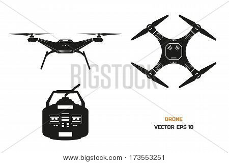 Black silhouette of drone on a white background. The control panel of quadrocopter . Front, top view. Vector illustration