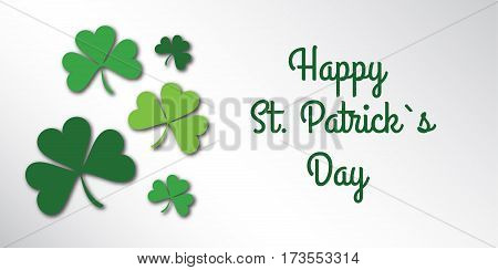 Happy Saint Patrick Day congratulation card with clover, shamrock. Art vector illustration.