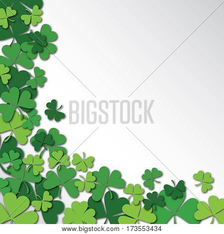 Happy Saint Patrick's Day Background. Clover, shamrock isolated on white background. Vector illustration.