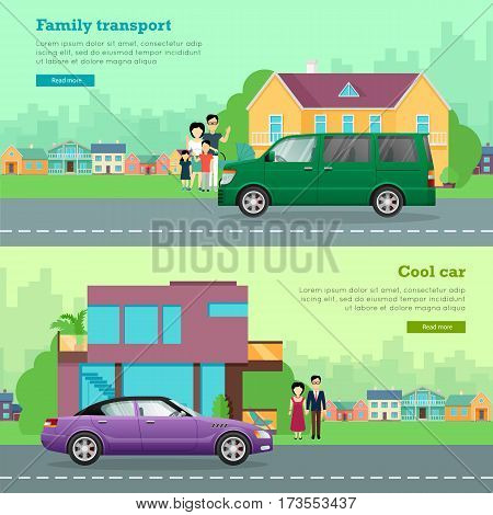 Transport. Collection of two illustrations. Cool car on road near contemporary glass house and young couple. Green minivan near big building and family of four members. Flat cartoon design. Vector