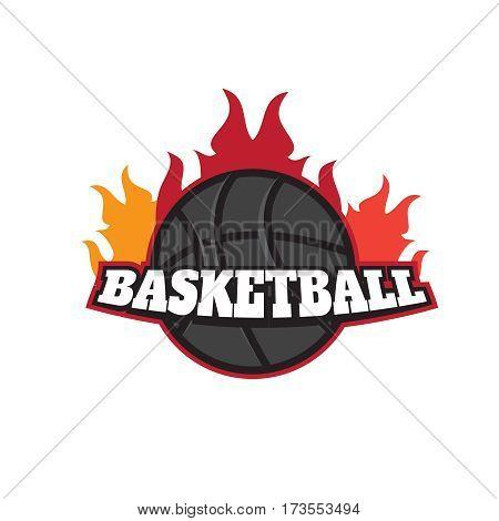Basketball tournament emblem template. Burning ball vector. Basketball tournament emblem