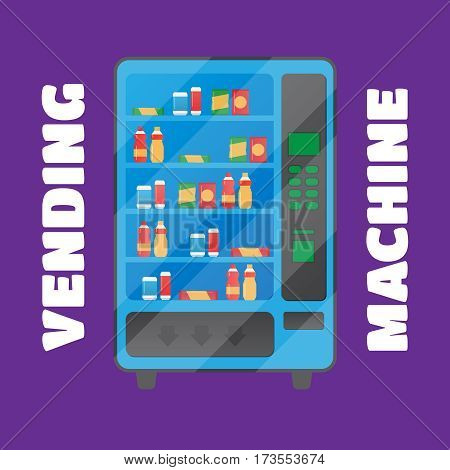 Vending machine with snacks and drinks vector. Vending machine vector