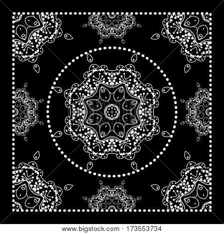 Black Bandana Print. Vector ornamental tile pattern with border and frame