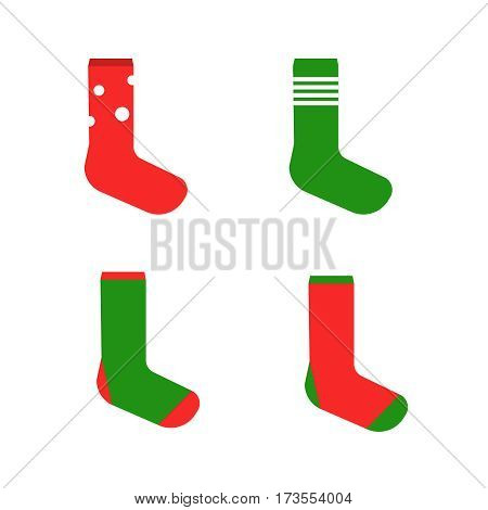 Colorful cute socks. Vector illustration sock set. Socks vector