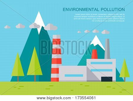 Environmental pollution concept vector banner. Flat design. Mountain landscape with plant polluting air emissions. Human impact on the environment illustration for web design and infographics.
