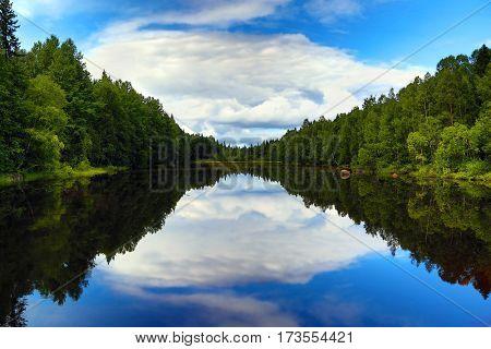 beautiful landscape with lake in Karelia
