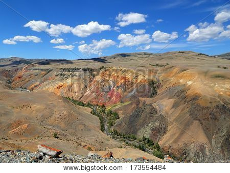 Landscape with deposit of colorful clay in the Altai Mountains or Mars valley
