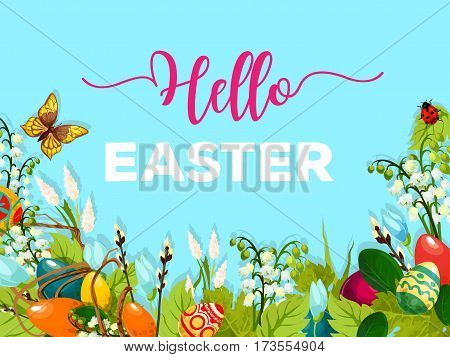 Easter Egg Hunt meadow cartoon poster. Decorated Easter eggs hidden in green grass, spring flower, willow twig and flying butterfly with blue sky on background. Spring holidays greeting card design