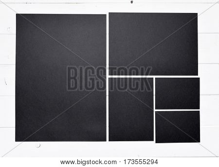 set of black paper different sizes